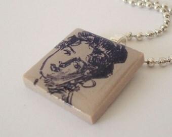 Woman Portrait Necklace Rubber Stamped Porcelain Tile Pendant