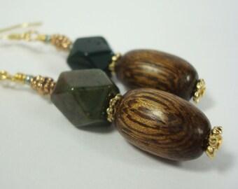Fancy Jasper Earrings Wood Pewter