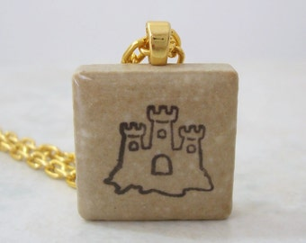 Sandcastle Necklace Rubber Stamped Recycled Ceramic Tile Pendant
