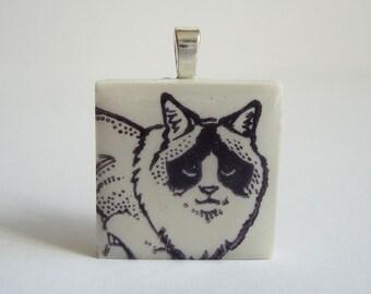Ragdoll Cat Necklace Rubber Stamped Porcelain Tile Pendant White