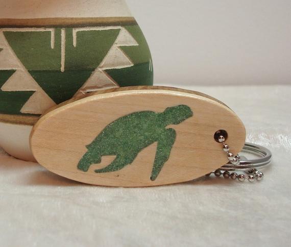 Wood Scroll Saw Green Sea Turtle Oval Pendant