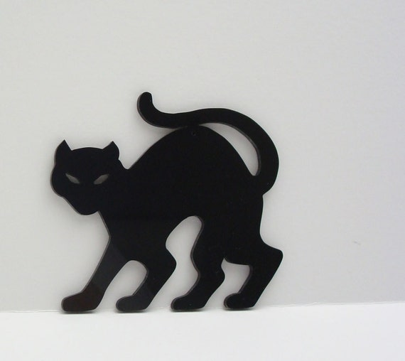 Halloween decoration black cat ornament stencil hand cut for Black cat templates for halloween