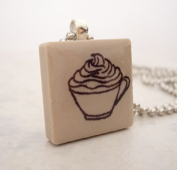 CLEARANCE: Coffee or Hot Chocolate Necklace Rubber Stamped Recycled Ceramic Tile Pendant