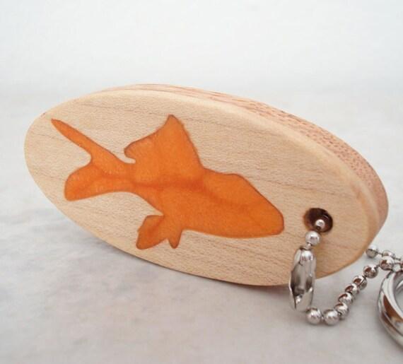 CLEARANCE: Scroll Saw Keychain Tropical Fish Key Chain Wood Orange Hand Cut
