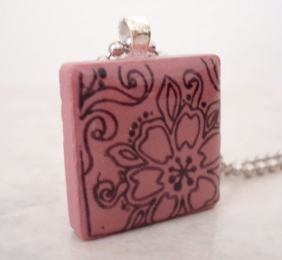 CLEARANCE: Rubber Stamped Tile Flower Necklace Abstract Pink Recycled Ceramic Tile Pendant