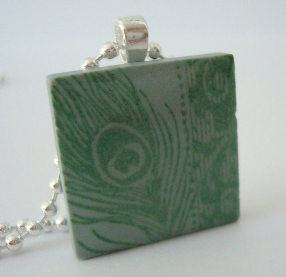 Peacock Feather Necklace Rubber Stamped Porcelain Tile Pendant