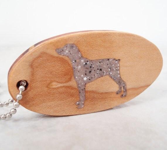 CLEARANCE: Dobermann Dog Key Chain Wood Scroll Saw Keychain Brown Granite Hand Cut