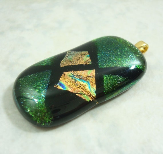 Dichroic Glass Pendant Full Fused Glittery Green Gold