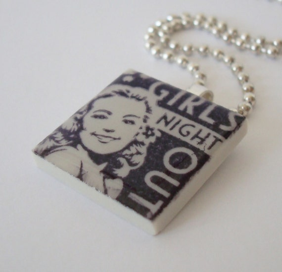 OOPS SALE: Girls Night Out Necklace Rubber Stamped Porcelain Tile Pendant