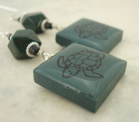 Sea Turtle Earrings Rubber Stamped Porcelain Tile Dark Forest Green
