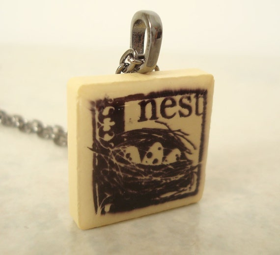 CLEARANCE: Tile Necklace Birds Nest Yellow Rubber Stamped Recycled Ceramic Tile Pendant