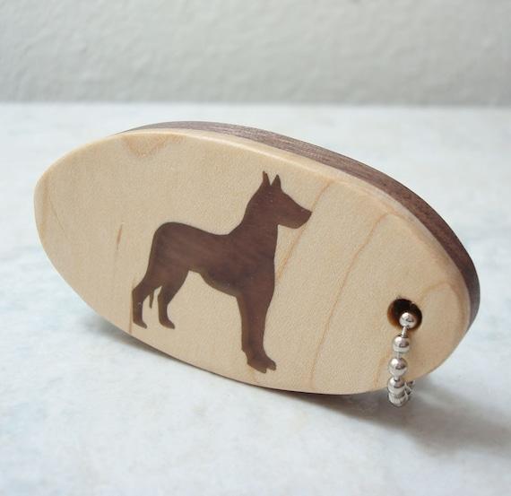 Great Dane Dog Wood Key Chain Scrollsaw Keychain Walnut Hand Cut