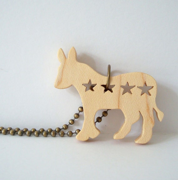 Democrat Donkey Election 2012 Jewelry Maple Hand Cut Scroll Saw Wood Pendant