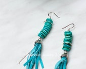 Listen to the sea sterling silver and turquoise earrings Gypsy Style