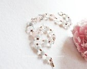 Natural Ice Rock Crystal Quartz Rose Quartz Pearl Necklace one of a kind wedding/ ball jewelry