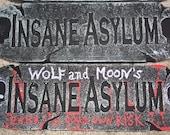 CUSTOMIZED Personal HALLOWEEN Insane Asylum Black Door Sign Skulls