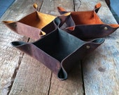 Leather Catch All- Leather valet- leather organizer- leather bowl- leather gift- Fellowings Catch All