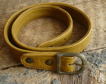 Mustard Leather Belt- Thin Handmade Belt