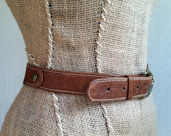 Brown Leather Belt- Handmade Preppy Belt