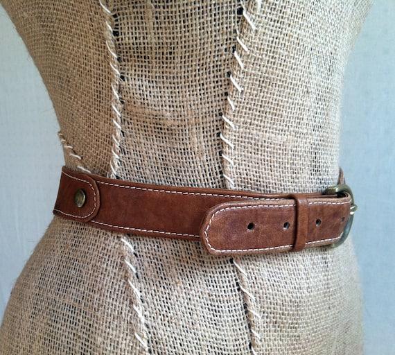 Brown Leather Belt- Handmade Preppy Belt