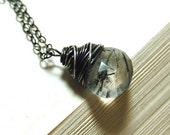 SALE - Shards - Wire Wrapped Rutilated Quartz Heart Briolette Necklace