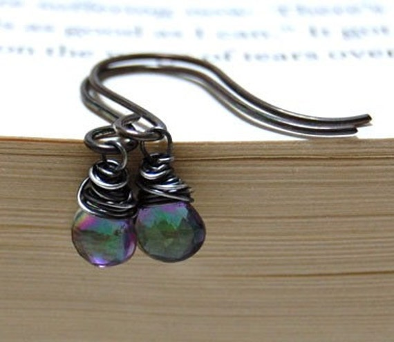 Wire Wrapped Mystic Crystal Faceted Heart Briolette Earrings