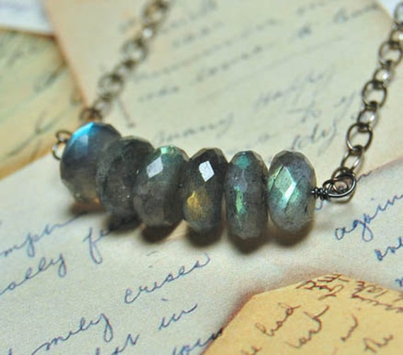 SALE - Total Eclipse -  Faceted Labradorite Rondelle Beaded Necklace