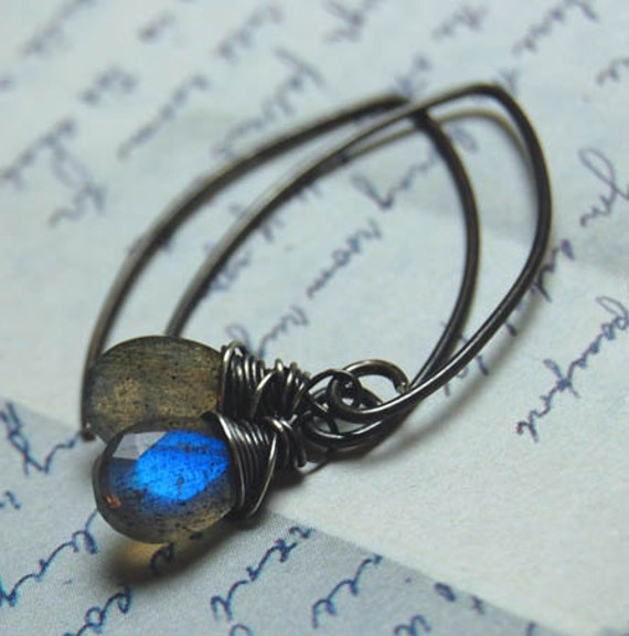 SALE - Undercurrent - Wire Wrapped Labradorite Faceted Pear Briolettes Earrings
