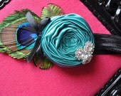 Take my breath away couture vintage inspired rosette headband for baby or little girl flower headband