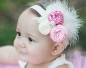 Pink Spring couture vintage inspired fabric rosette headband for baby or little girl