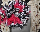 Zebra Bloom couture vintage inspired fabric rosette headband with large zebra and hot pink flower