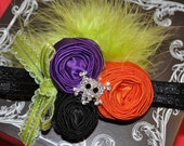This is halloween couture vintage inspired fabric rosette headband just for halloween