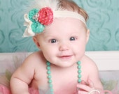 Coral Beaches couture vintage inspired fabric rosette headband flower headband coral and aqua