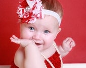 Candy Cane Bloom couture vintage inspired red white and stripe fabric flower boom perfect photo prop