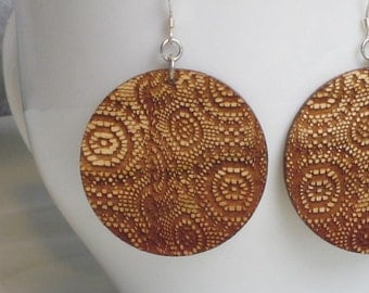 Lace Earrings - Grandmas Curtains - Large Round