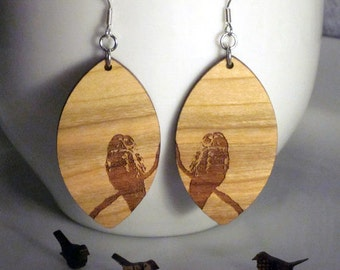 Owl, Wood, Earrings, Large Diamond