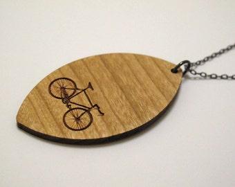 Bike Necklace Wood - Diamond on gunmetal chain