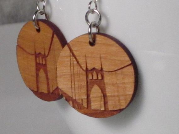 St Johns Bridge Earrings Wood on Small Standard Hook