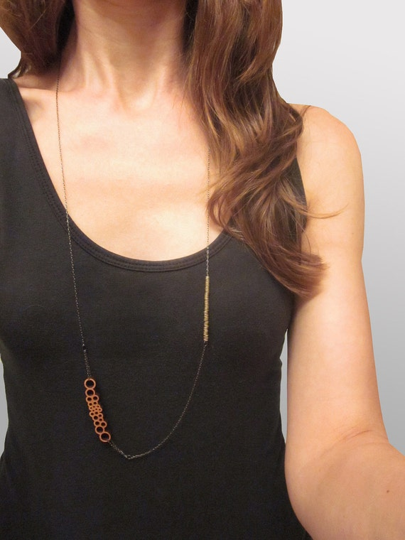 Long Asymmetrical Small Bubbles and Trade Bead Necklace