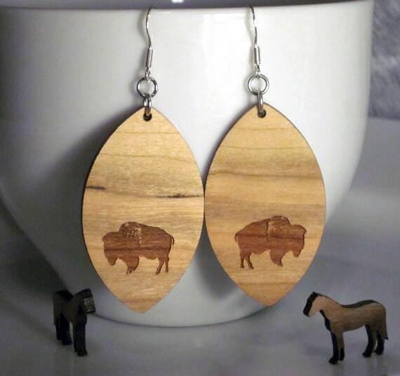 Wood Diamond Bison Earrings