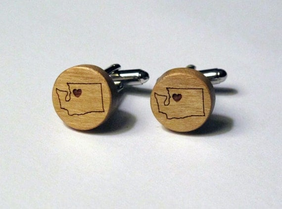 Washington Wood Cuff Links with Heart