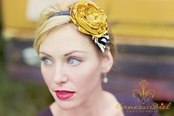 Mustard Yellow Silky Satin Flower with Jet Black and Creamy Vanilla White Zebra Print Leaves on a Soft Stretchy Headband
