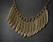 Bronze Feather Cluster Necklace