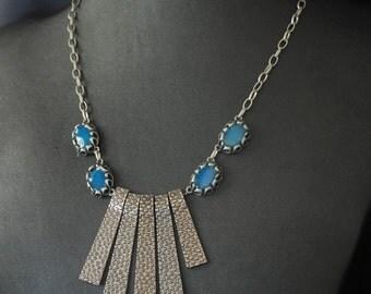 Gunmetal and Turquoise Enamel Fan Necklace