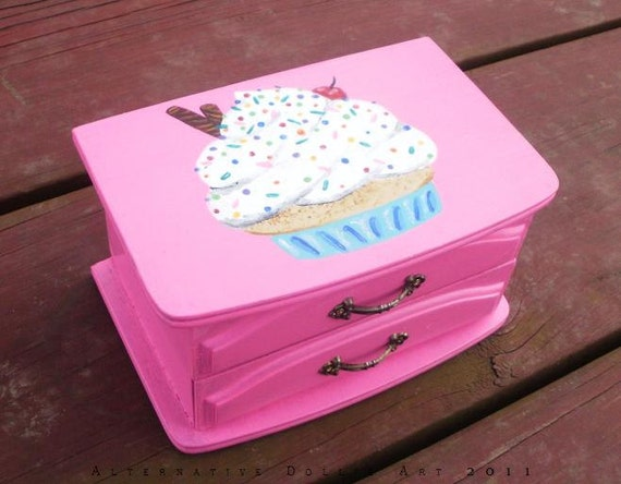 Cupcake Musical Jewelry Box-- Handpainted