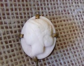 Antique Victorian 1890s to 1900s Brass Carved Shell Cameo Brooch