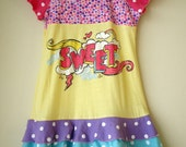 Sz 5 - Upcycled Triple Layer Twirl Dress w/Flutter Sleeves - Sweet