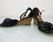 1970's or 80's Black and Cork Wedge Sandals 9.5