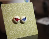 Birds of a feather flock together. Handmade fabric button Ear Studs