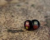 Matryoshka Round The World. Handmade fabric button Ear Studs